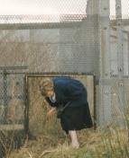 Behind the wall: Eine Frau schlüpft kurz nach der Maueröffnung durch ein Loch in der Sperranlage bei Dassow (nahe Lübeck). (Foto: Steenbeck)