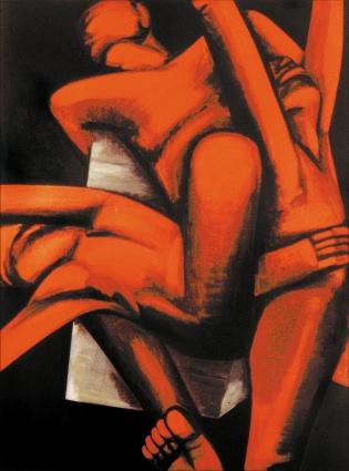 """Hans-Henning Grimmlings """"Mauerbild"""" aus dem Jahr 1983 lässt die Fluchtfantasien des sächsischen Malers erahnen. Doch auch ich im Westen wollte wissen, was sich hinter dem Eisernen Vorhang verbirgt."""