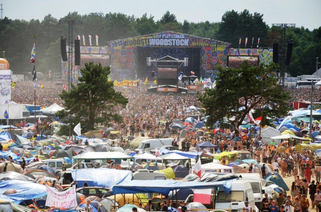 """Rockfestival als Massenveranstaltung: Blick auf das Gellände der """"Haltestelle Woodstock """" in Kostrzyn an der Oder. (Foto: Krökel)"""