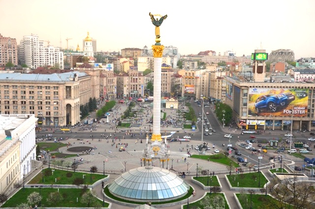 Blick über den Kiewer Unabhängigkeitsplatz. 2004 war der Majdan Schauplatz der Revolution in Orange. (Foto: Krökel)