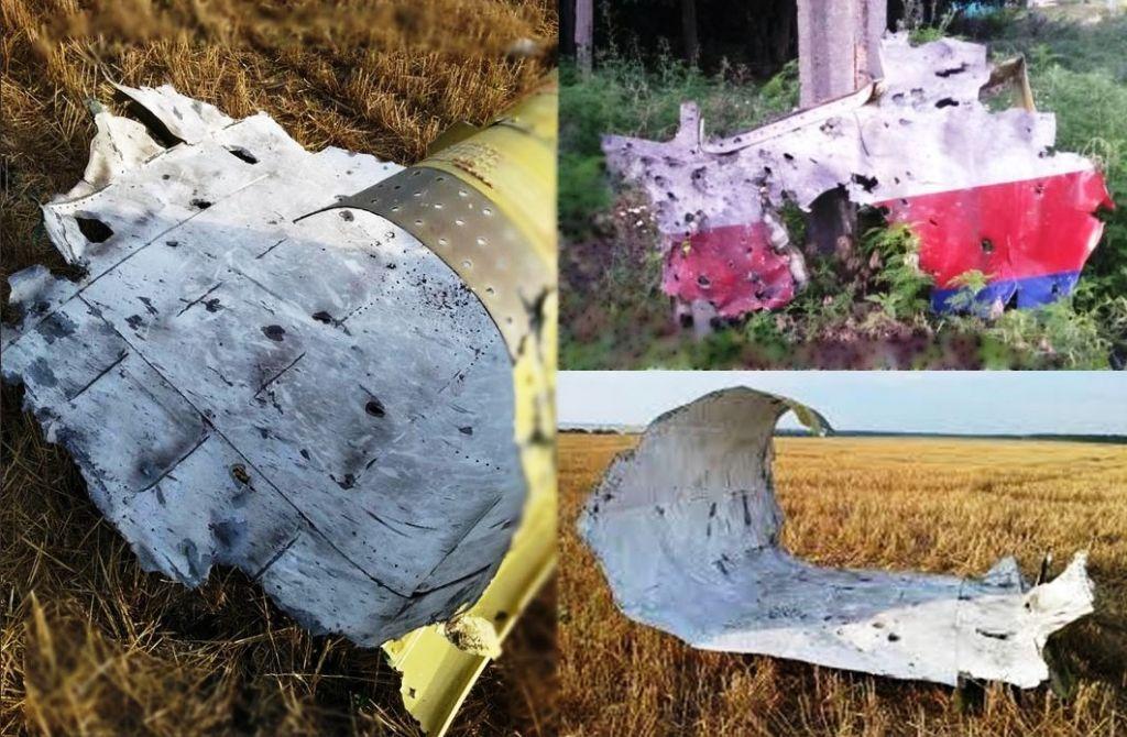 Trümmerteile der Boeing 777, die am 17. Juli in der Ostukraine abstürzte - vermutlich nach einem Raktentreffer. (Foto: Ukrainische Botschaft)